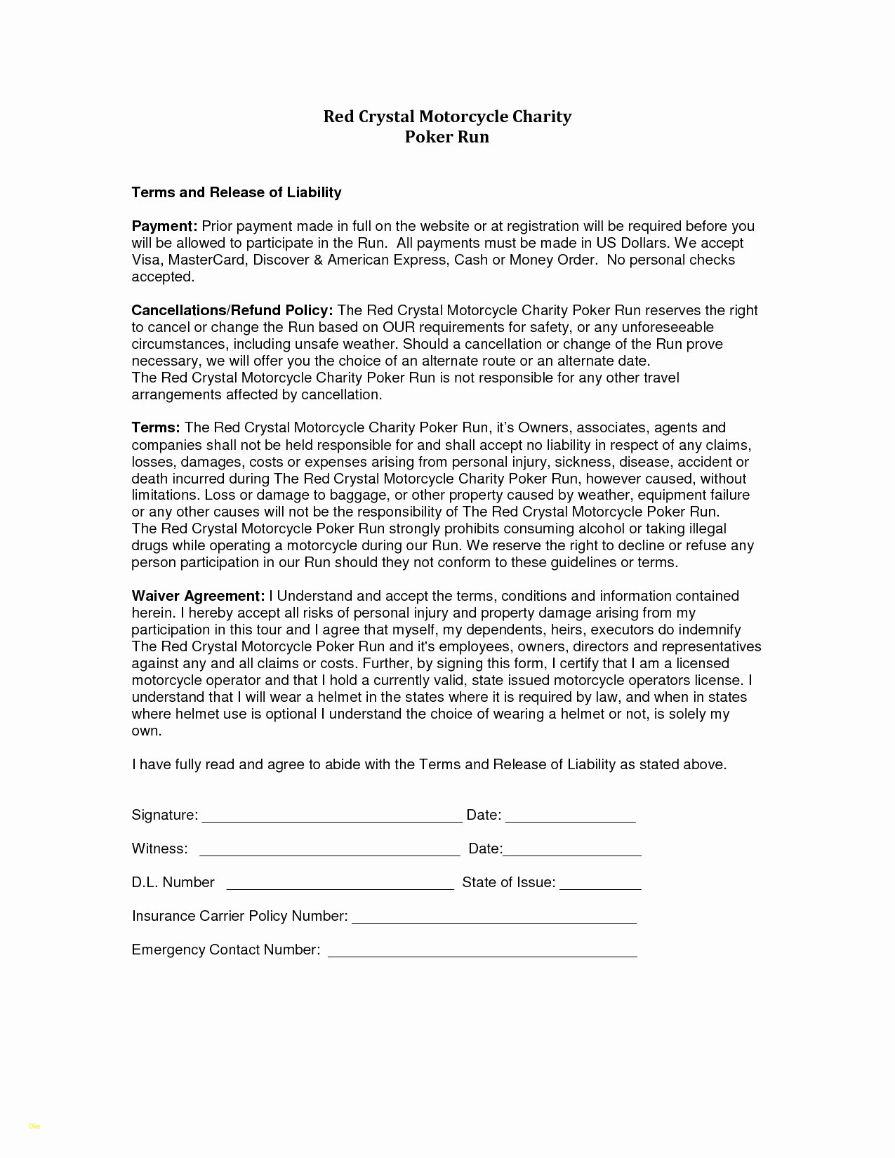 Free Liability Waiver Template Elegant Inspirational Release Liability Template