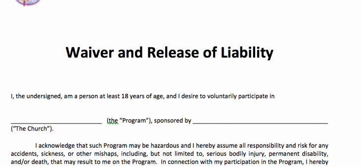 Free Liability Waiver Template Elegant Waiver and Release Of Liability – Adult Free Methodist