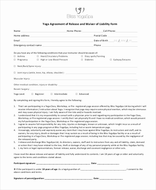 Free Liability Waiver Template Inspirational 11 Liability Waiver form Templates Pdf Doc