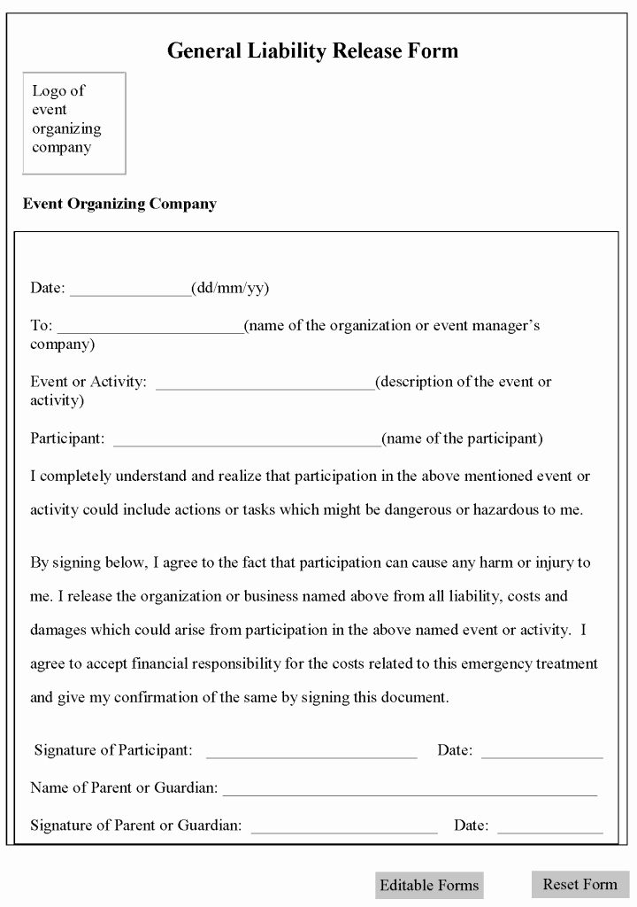 Free Liability Waiver Template Inspirational Free Printable Liability form Template form Generic