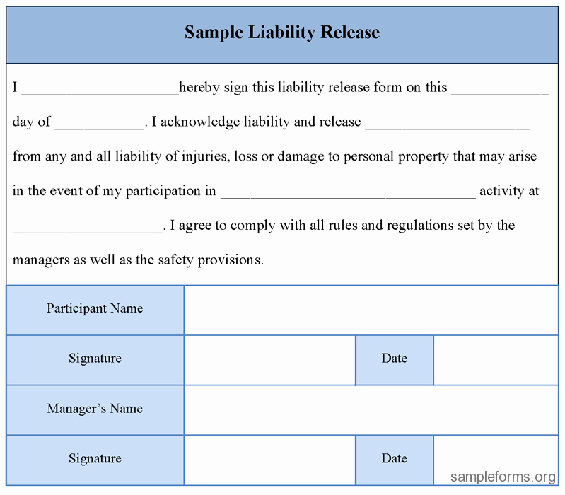 Free Liability Waiver Template Lovely Free Printable Liability Release form Template form Generic