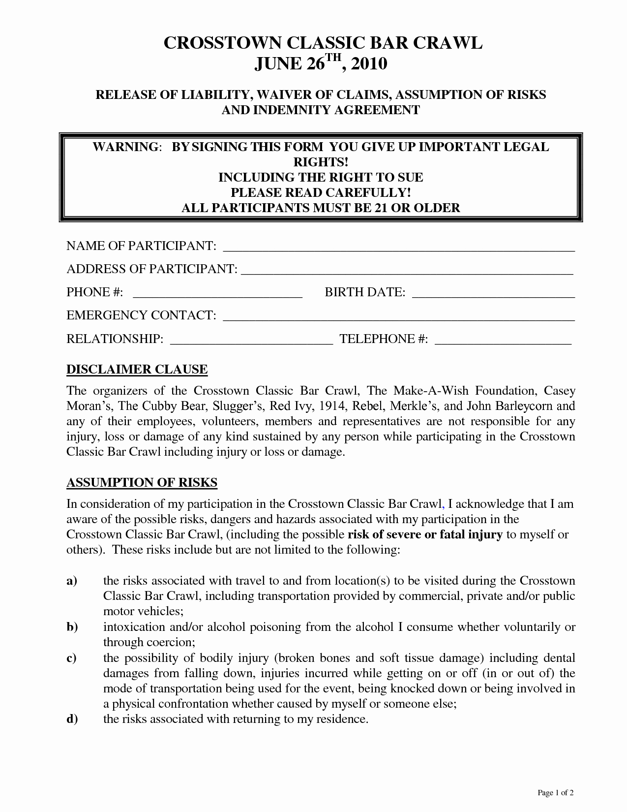 Free Liability Waiver Template New Liability Waiver Template Free Portablegasgrillweber