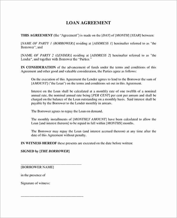 Free Loan Agreement Template Word Fresh 20 Loan Agreement Templates Word Excel Pdf formats