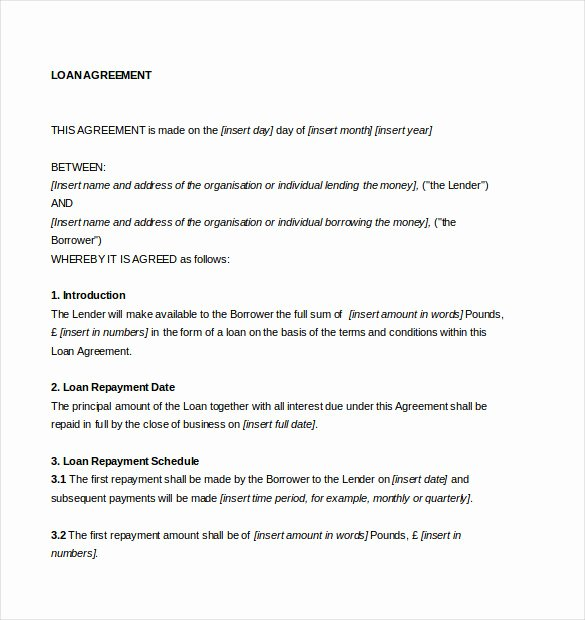 Free Loan Agreement Template Word Inspirational Loan Agreement Template – 11 Free Word Pdf Documents
