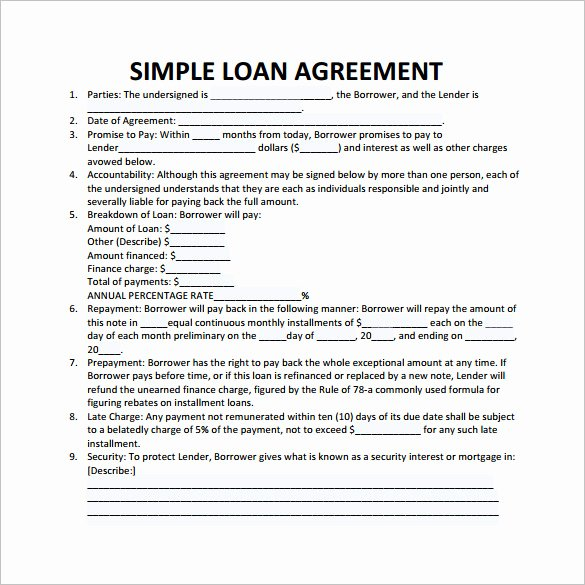 Free Loan Agreement Template Word Lovely Loan Contract Template – 20 Examples In Word Pdf