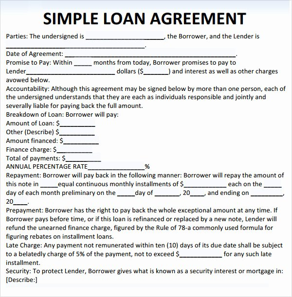 Free Loan Agreement Template Word Lovely Sample Loan Agreement 10 Free Documents In Pdf Word