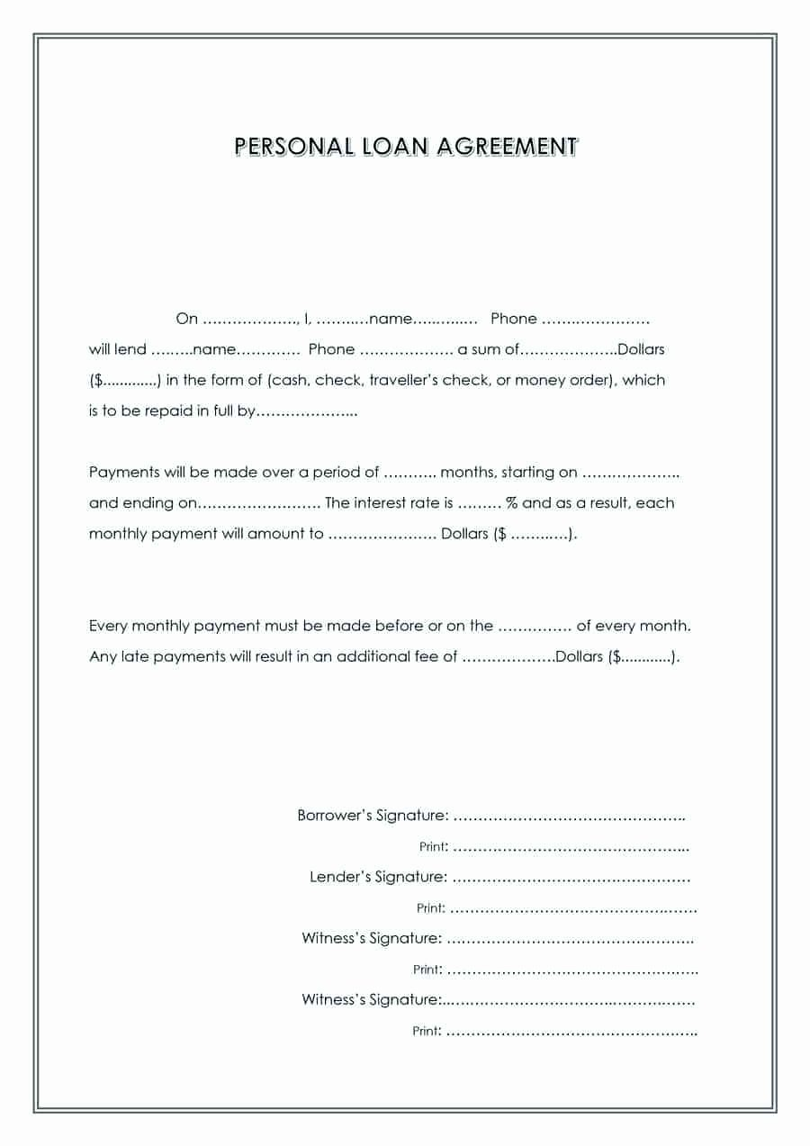 Free Loan Agreement Template Word New Template Sample Personal Loan Agreement Template