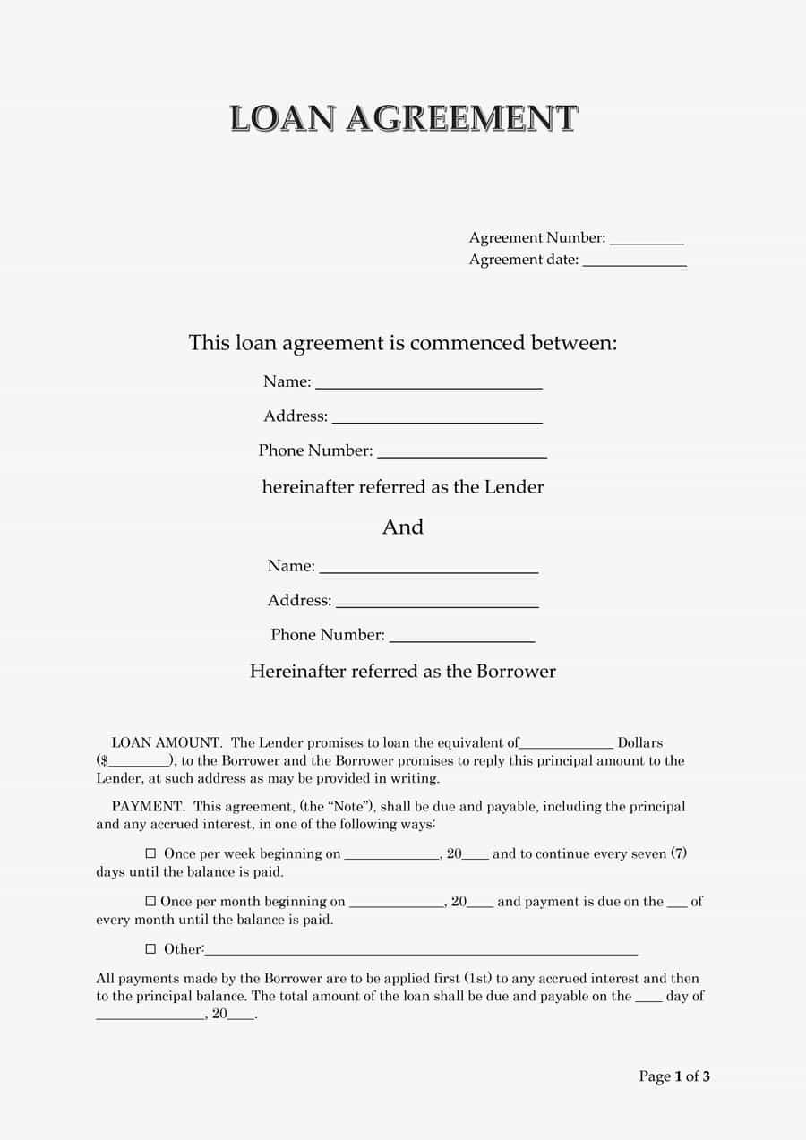 Free Loan Contract Template Awesome 40 Free Loan Agreement Templates [word & Pdf] Template Lab