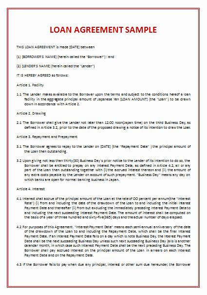 Free Loan Document Template Awesome 45 Loan Agreement Templates & Samples Write Perfect
