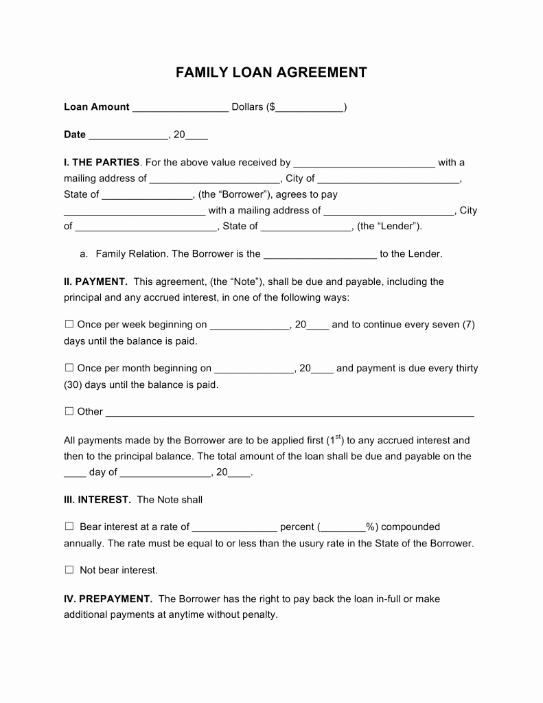 Free Loan Document Template Beautiful Family Loan Agreement Template