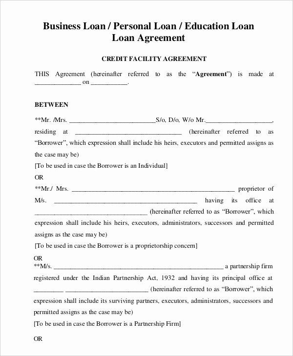 Free Loan Document Template Elegant Loan Agreement Template 19 Free Word Pdf format