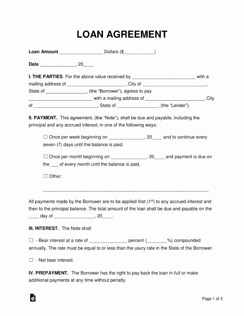 Free Loan Document Template Luxury Free Loan Agreement Templates Pdf Word
