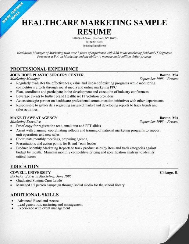 Free Marketing Resume Template Awesome Healthcare Marketing Resume Sample Resume Panion