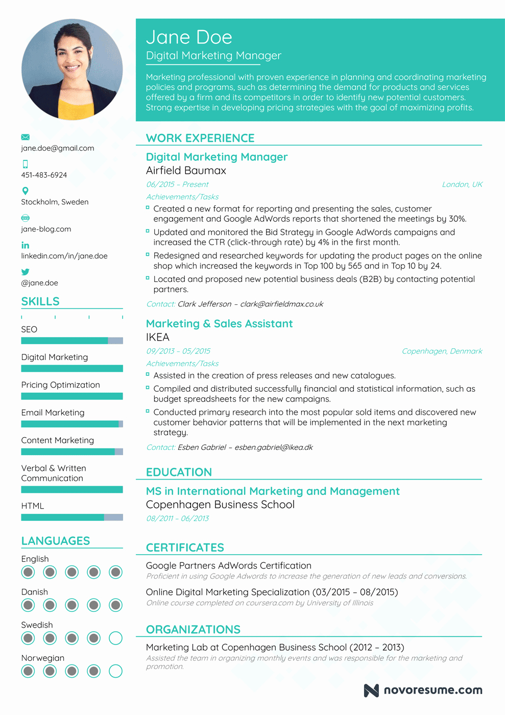 Free Marketing Resume Template Awesome Marketing Manager Resume Example Update Yours now for 2019