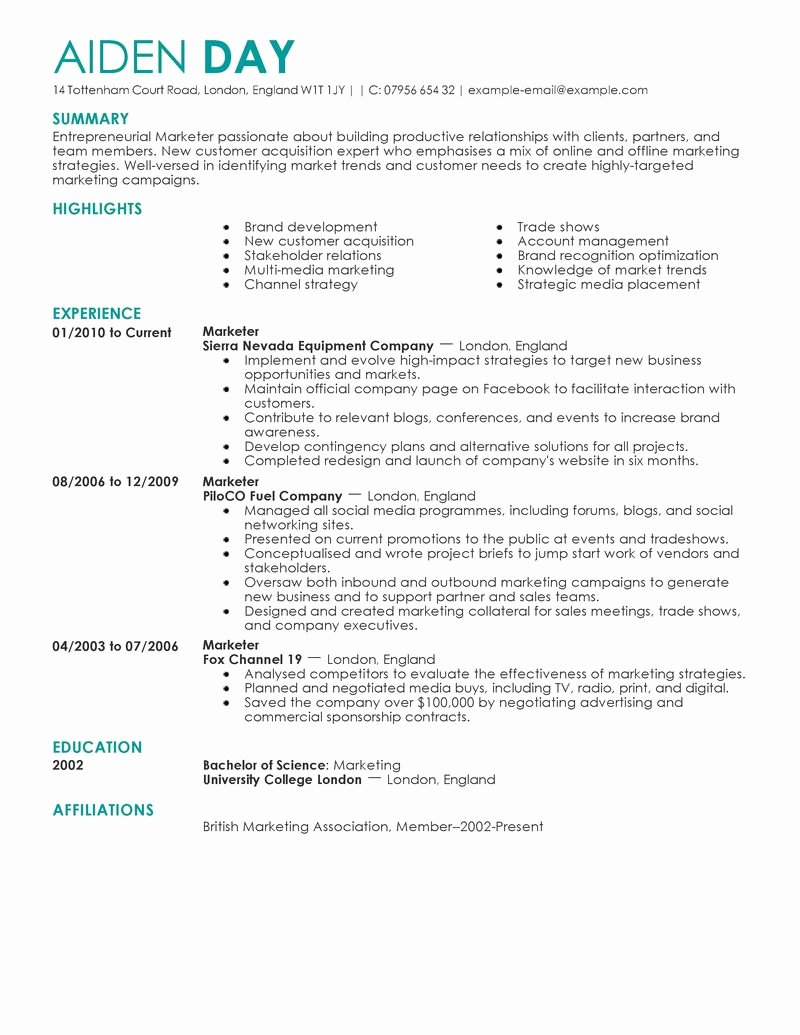 Free Marketing Resume Template Awesome Marketing Resume Examples
