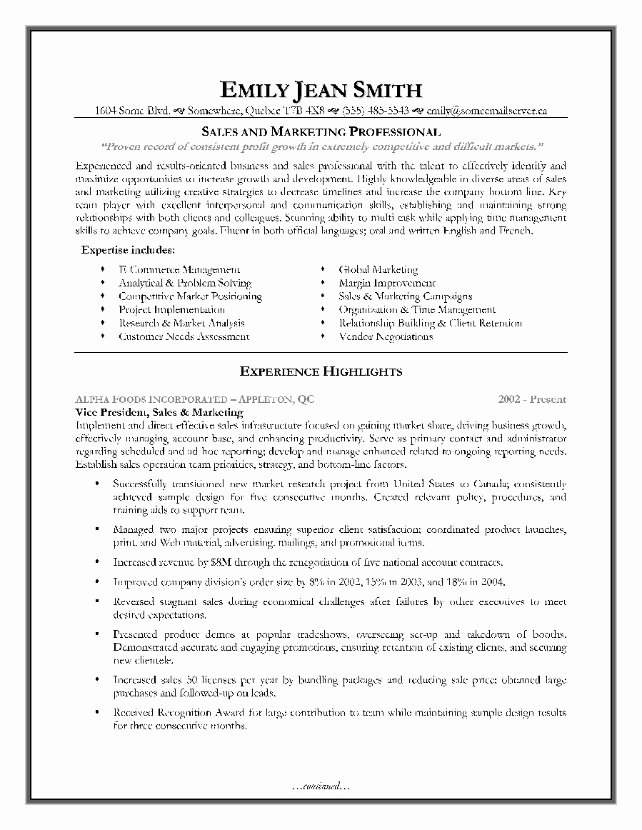 Free Marketing Resume Template Awesome Sales and Marketing Resume Sample Page 1