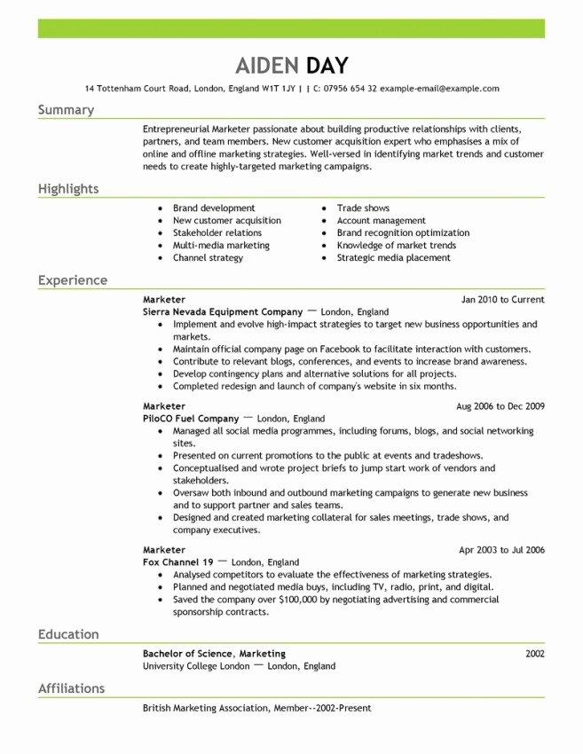 Free Marketing Resume Template Best Of Marketing Resume Template