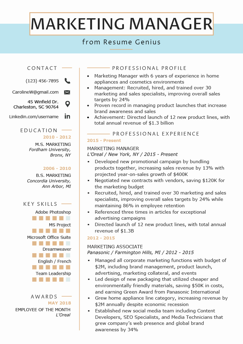 Free Marketing Resume Template Elegant Marketing Manager Resume Example & Writing Tips