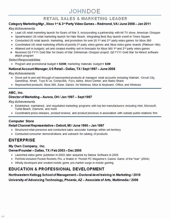 Free Marketing Resume Template Fresh Marketing Resume Sample