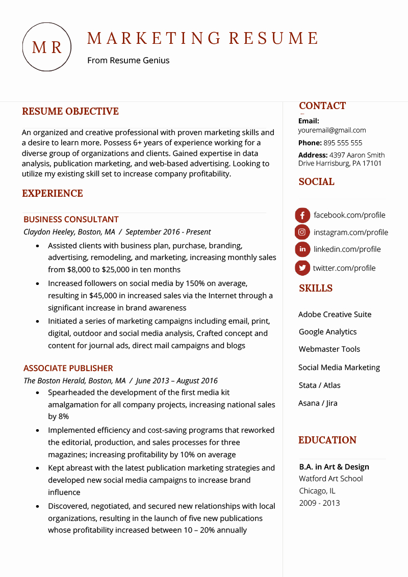 Free Marketing Resume Template Lovely Marketing Resume Sample & Writing Tips
