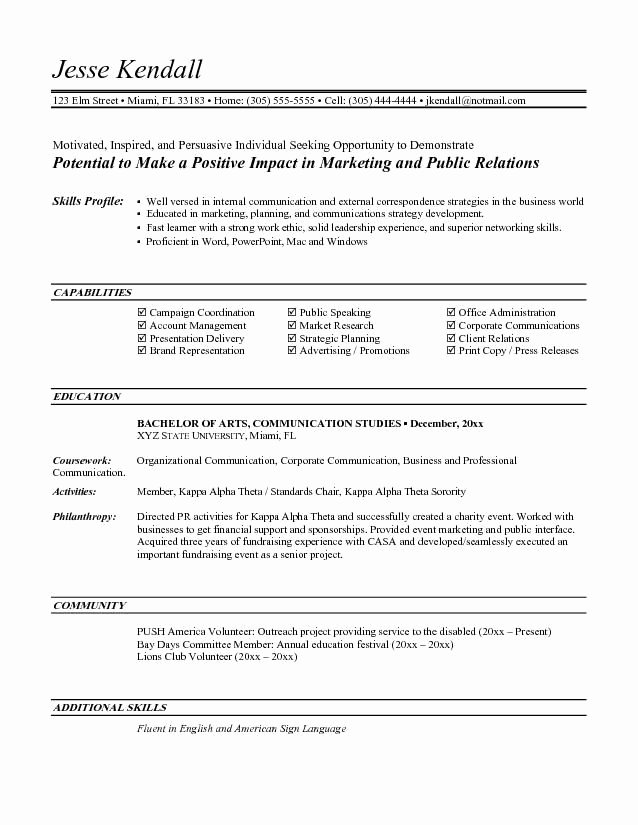 Free Marketing Resume Template Luxury Entry Level Marketing Resume Objective
