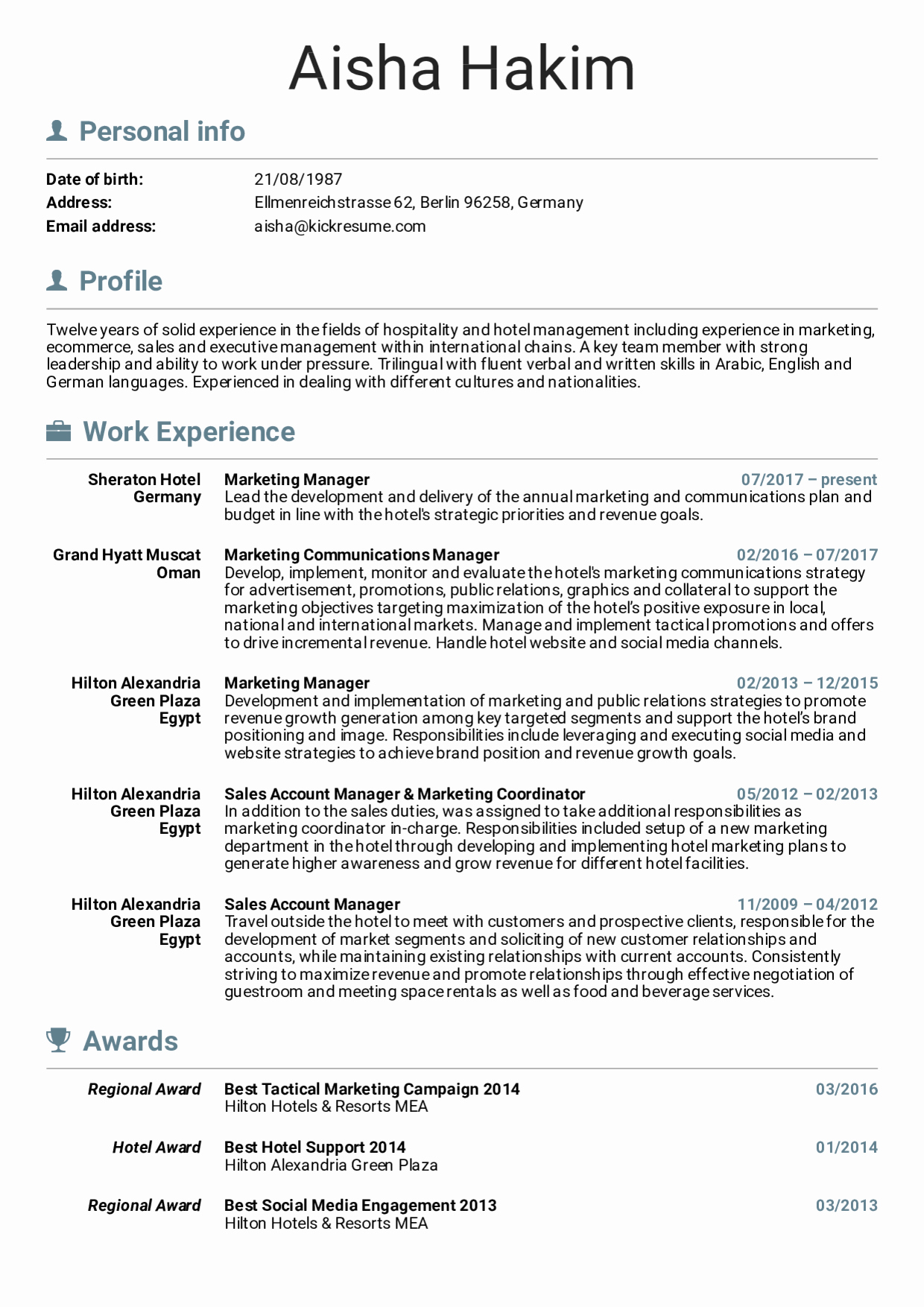 Free Marketing Resume Template Luxury Resume Examples by Real People Sheraton Hotel Marketing