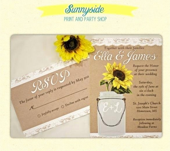Free Mason Jar Invitation Template Fresh Sunflower Wedding Invitations Templates Free Printable