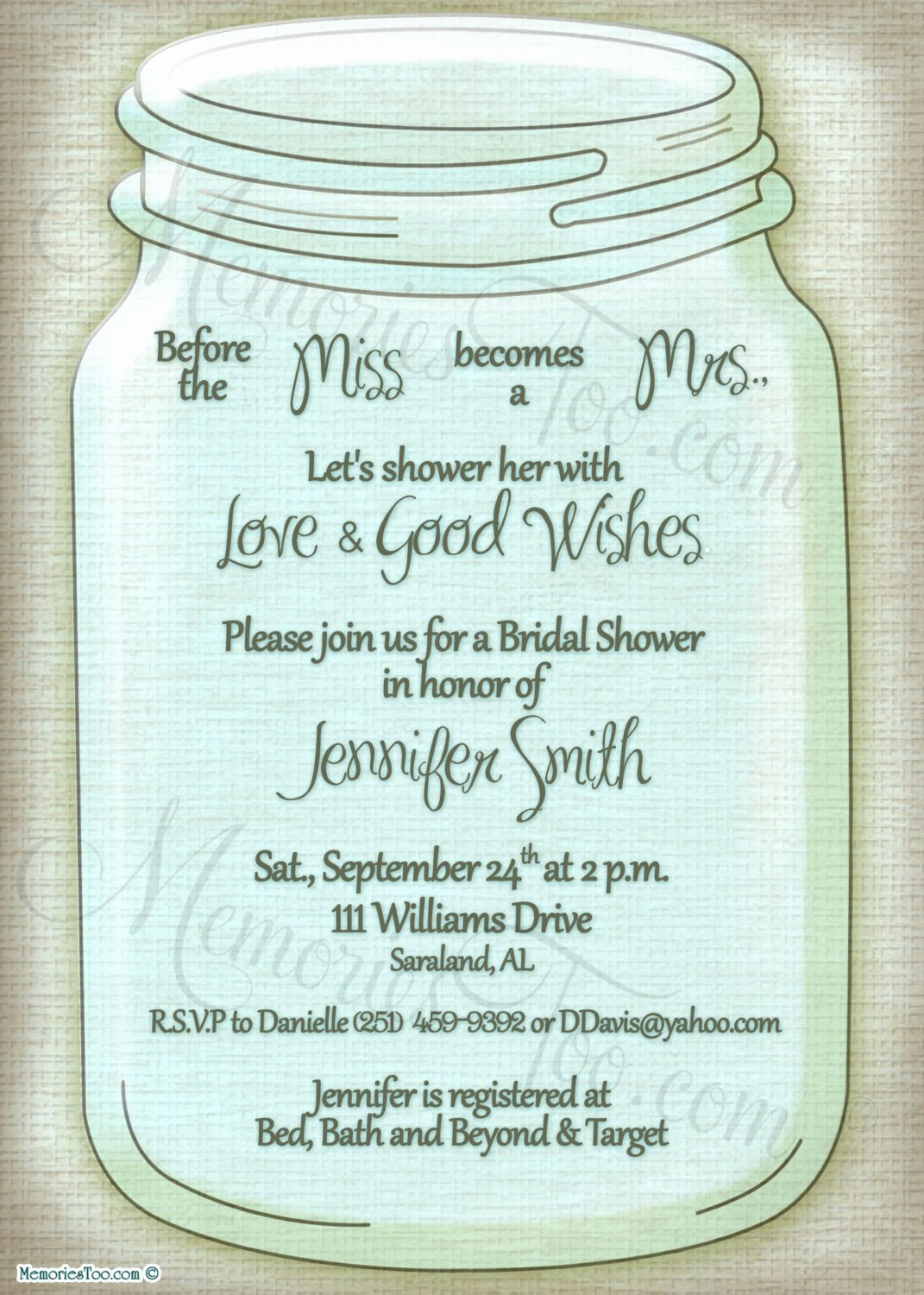 Free Mason Jar Invitation Template Lovely Mason Ball Jar Invitation Diy Printable Choose Your by