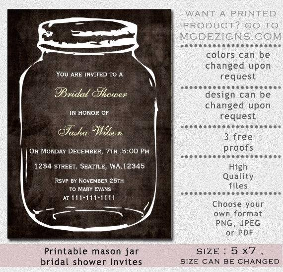 Free Mason Jar Invitation Template Luxury Items Similar to Printable Bridal Shower Invitation