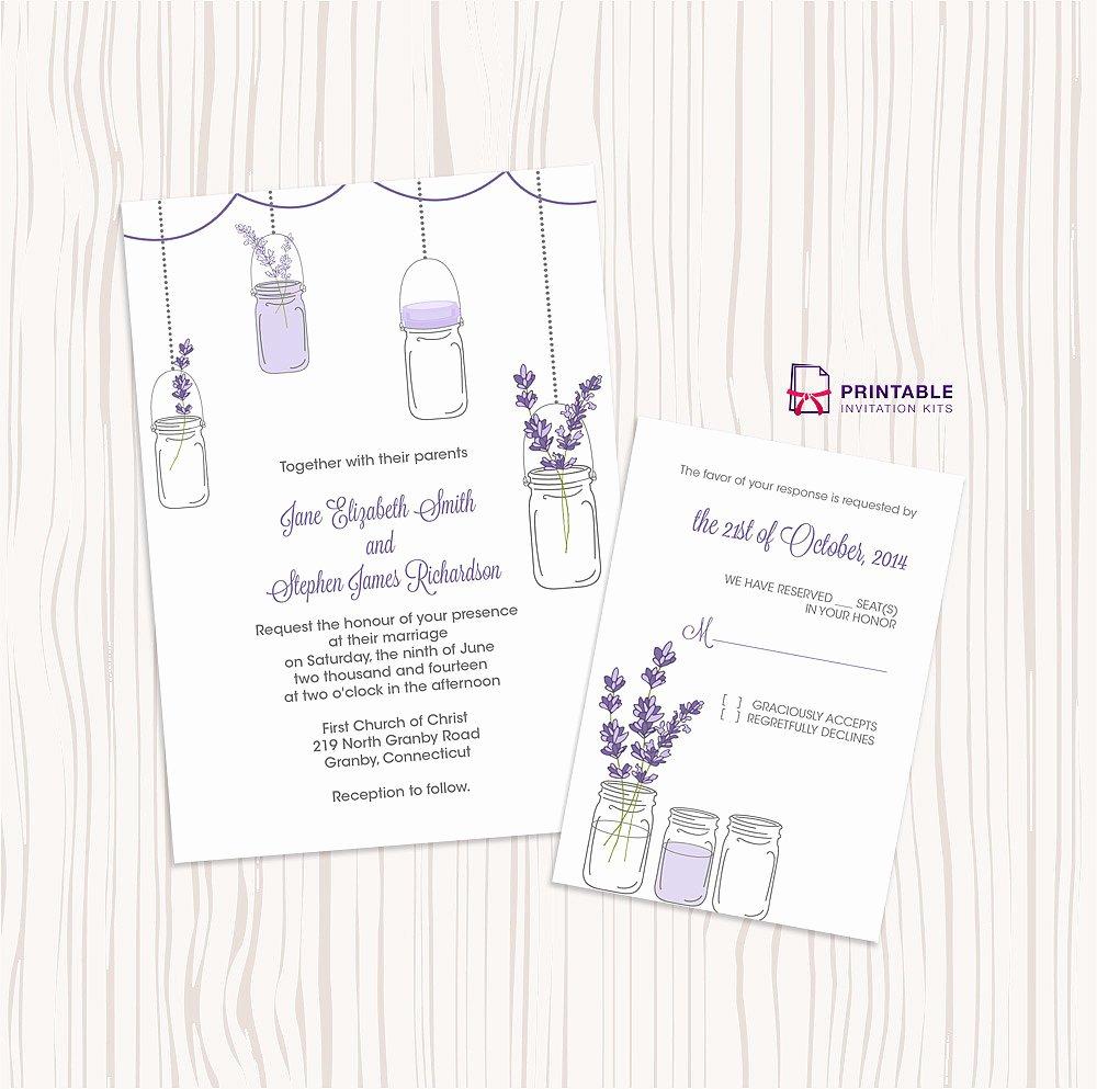 Free Mason Jar Invitation Template Luxury Lavender and Mason Jar Wedding Invitation