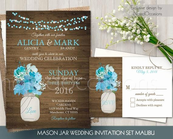 Free Mason Jar Invitation Template Luxury Mason Jar Wedding Invitation Set Rustic Mason by