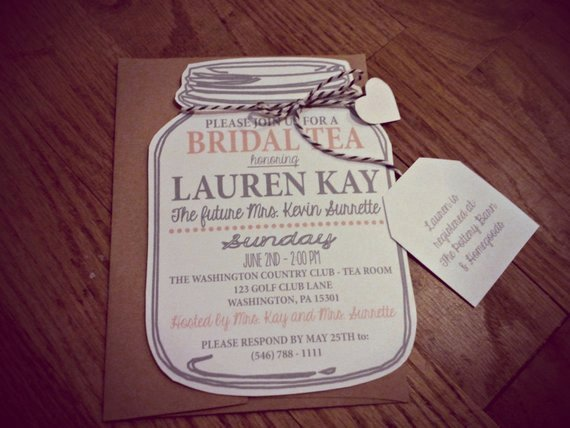 Free Mason Jar Invitation Template Unique Mason Jar Bridal Tea Invitation Bridal Shower by Neillydesign