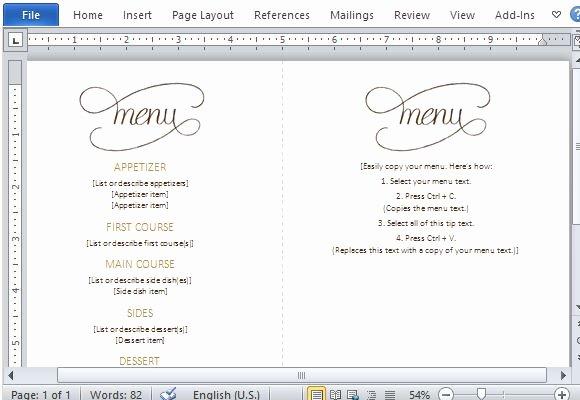Free Menu Template Microsoft Word Best Of Menu Template Word