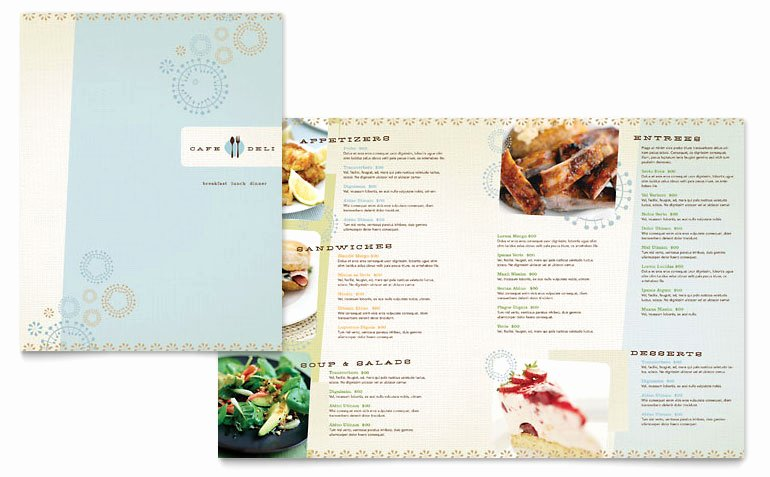 Cafe Deli Menu Templates FB D