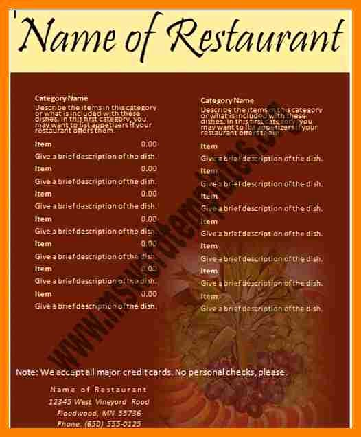 Free Menu Template Microsoft Word Fresh Free Restaurant Menu Templates for Word