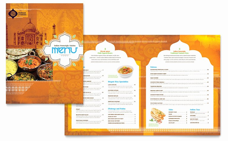 Free Menu Template Microsoft Word Fresh Indian Restaurant Menu Template Word & Publisher