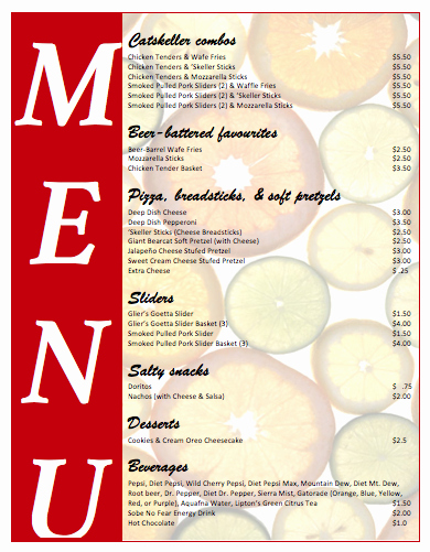 Free Menu Template Microsoft Word Inspirational All Purpose Food Menu Template Microsoft Word Templates