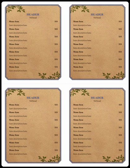 Free Menu Template Microsoft Word Lovely Menu Examples – 5 Free Printable Word Pdf Open Fice
