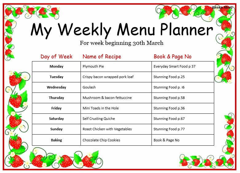 Free Menu Template Microsoft Word Lovely Weekly Menu Template for Home Word Templates