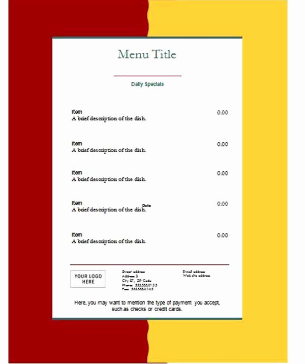 Free Menu Template Word Awesome Free Restaurant Menu Templates Microsoft Word Templates
