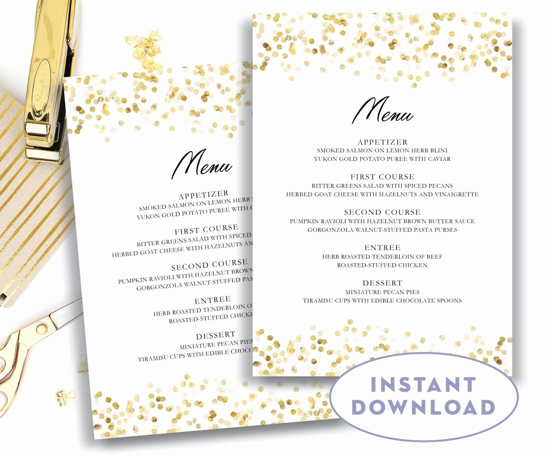 Free Menu Template Word Beautiful Gold Wedding Menu Template 5x7 Editable Text Microsoft Word