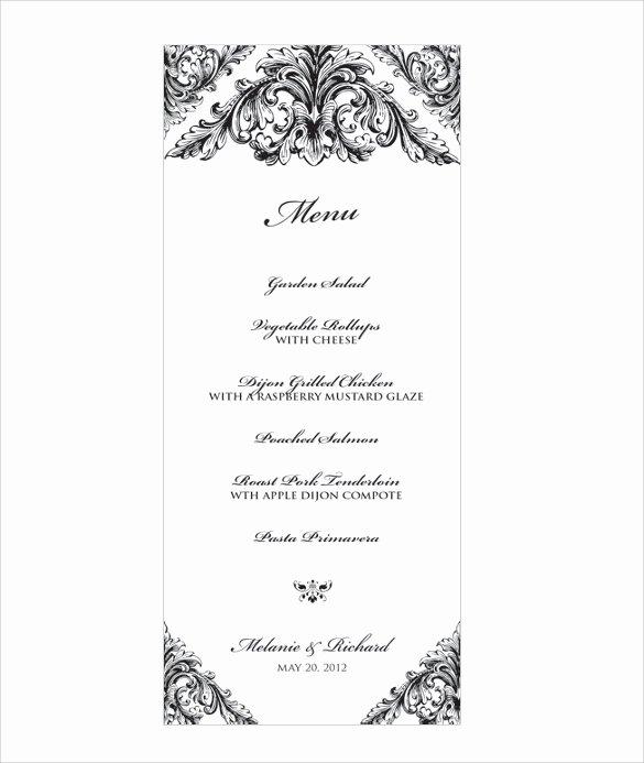 Free Menu Template Word Best Of Wedding Menu Template 31 Download In Pdf Psd Word
