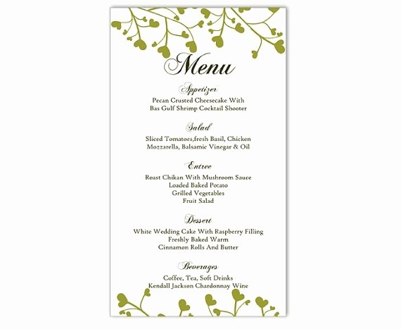 Free Menu Template Word Luxury Wedding Menu Template Diy Menu Card Template Editable Text