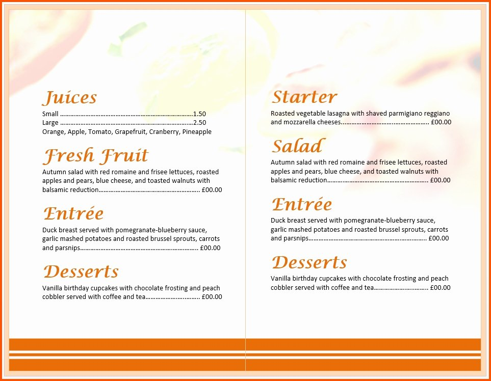 Free Menu Template Word New Free Breakfast Menu Templates for Word