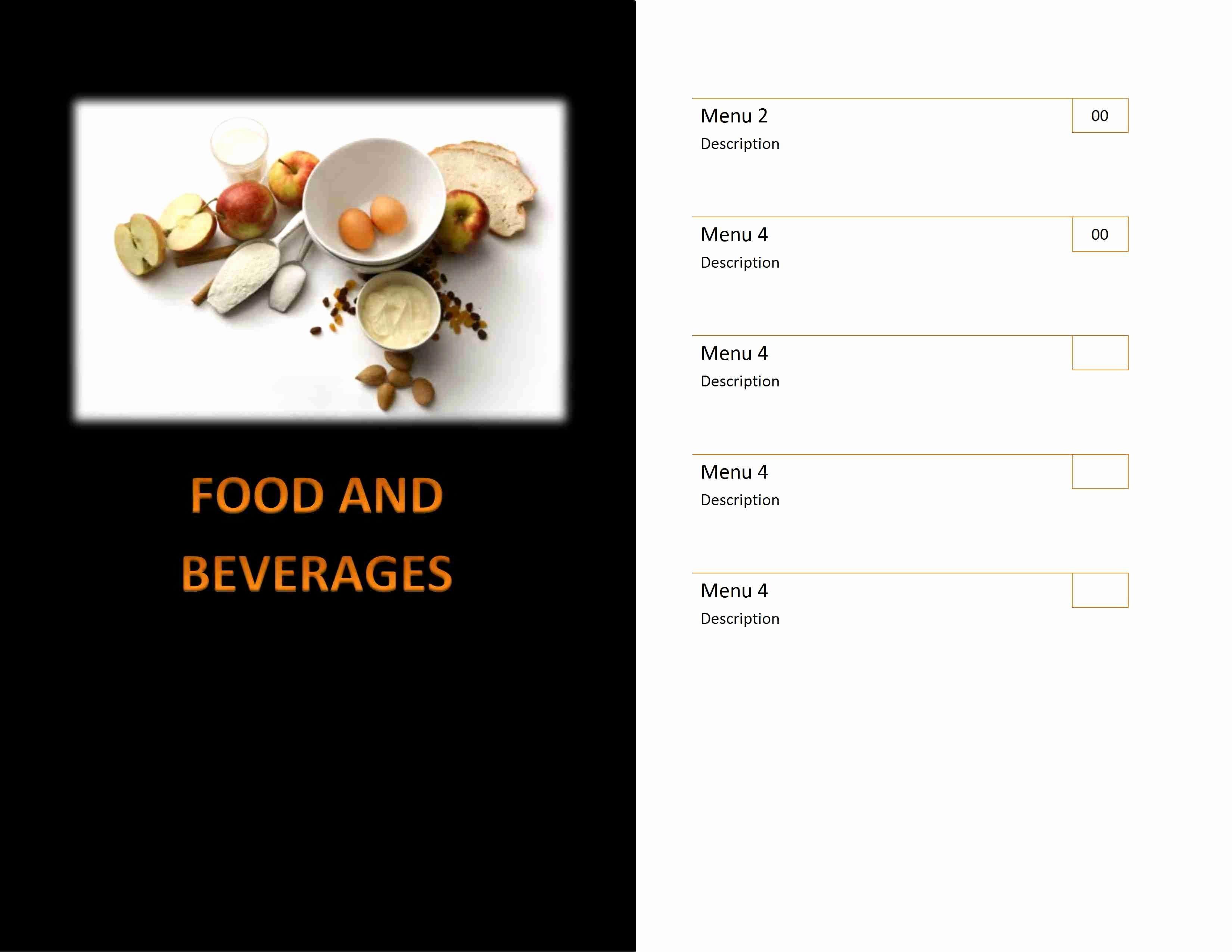 Free Menu Template Word New Restaurant Menu