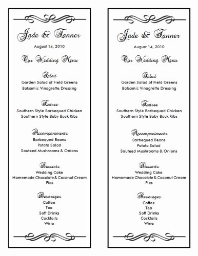 Free Menu Template Word New Wedding Menu Template 7