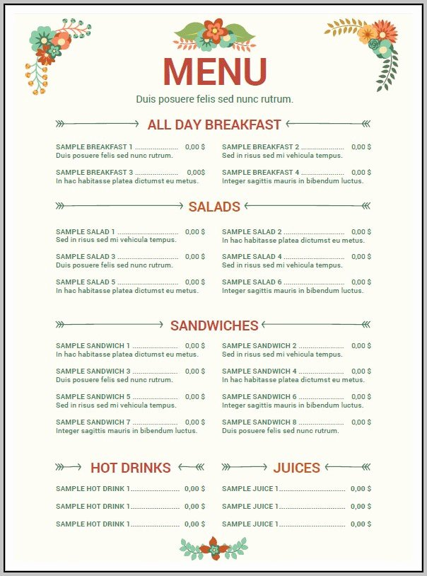 Free Menu Template Word Unique Cafe Menu Templates Free Download Word Template Resume