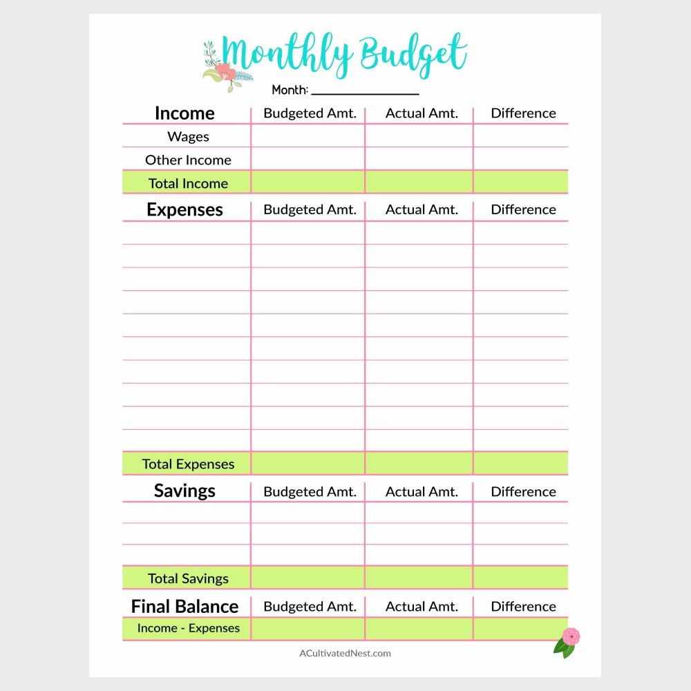 Free Monthly Expenses Template Beautiful Printable Monthly Bud Template A Cultivated Nest