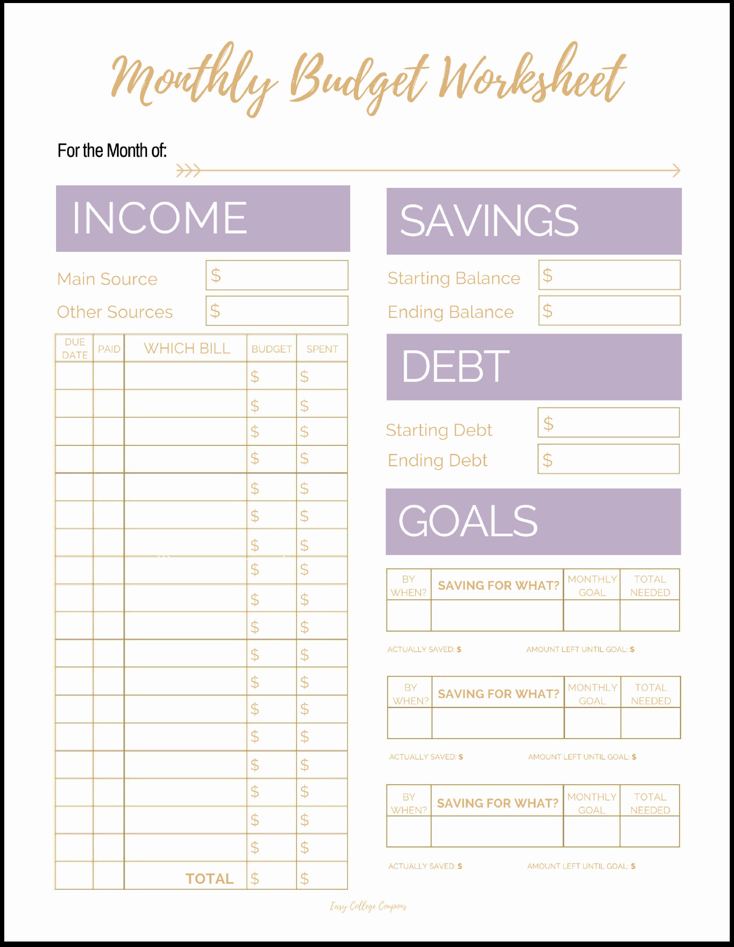 Free Monthly Expenses Template Fresh Free Printable Monthly Bud Template