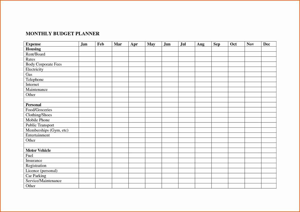 Free Monthly Expenses Template Fresh Monthly Expenses Spreadsheet Template Free